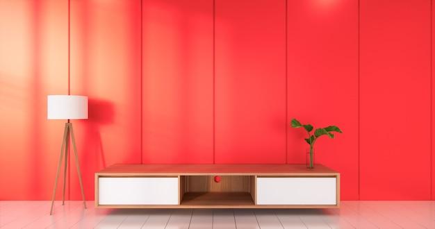 레드 룸 흰색 바닥 미니멀리스트 일본식 거실