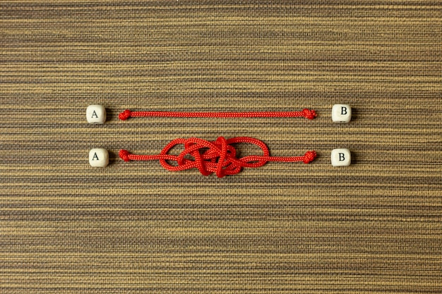 Red rope choice abstract image for business content