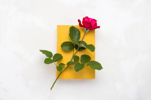 Red rose on a book with a yellow cover on a light stone background. the concept of romantic literature. flat lay, top view