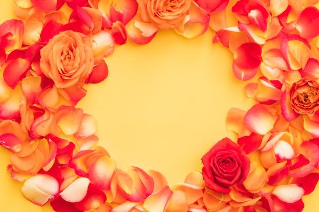 オレンジの上に丸いフレームに配置された赤いバラのつぼみと花びら