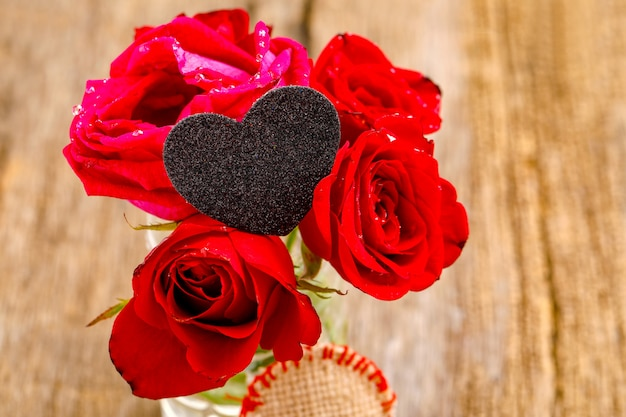 Red rose bunch with little heart shape. valentine or women day concept