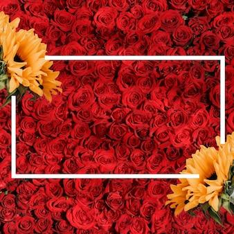 ひまわりと赤いバラのデザイン