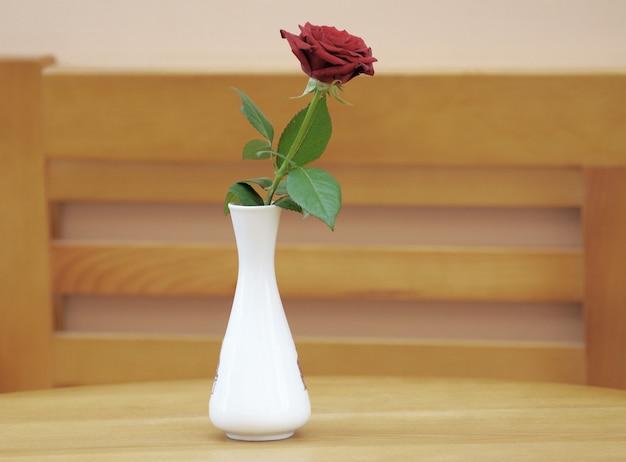 흰 꽃병에 빨간 장미