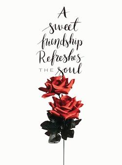 バレンタインデーのメッセージと赤いバラ