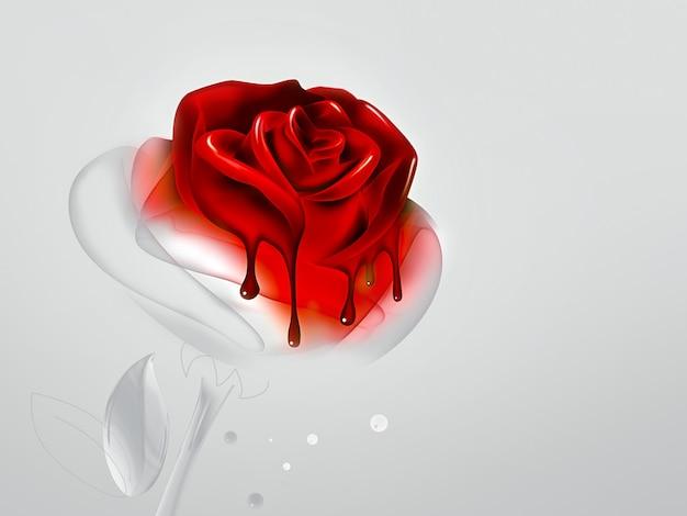 Красная роза с каплями краски