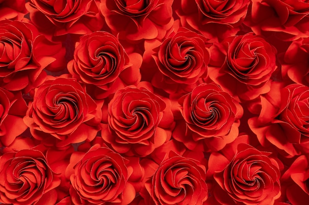 Red roses cut from paper