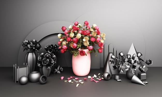 핑크와 블랙 톤 3d 렌더링의 기하학적 배경으로 꽃병에 빨간 장미