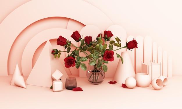 핑크 톤의 기하학적 배경으로 꽃병에 빨간 장미 3d 렌더링