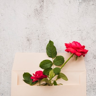 Red roses in the paper envelope against damaged background