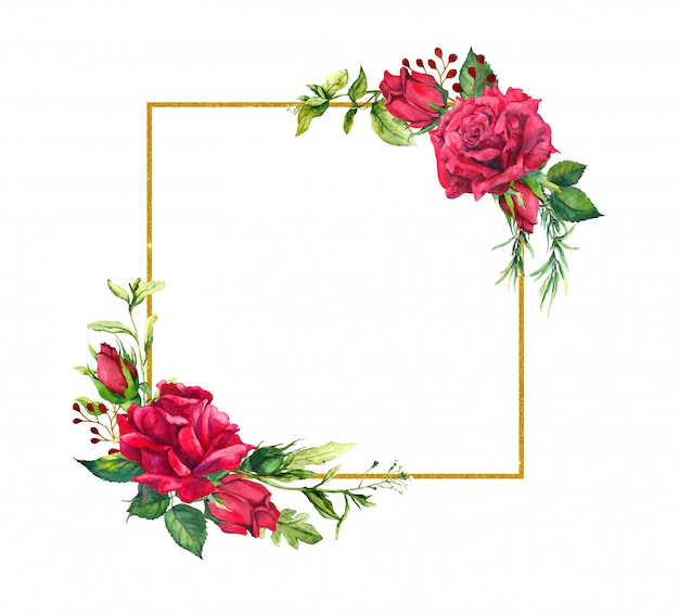 Red roses, square golden border. watercolor frame with flowers, wild grass and gold