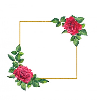 Red roses, square golden frame. watercolor card with flowers and wreath