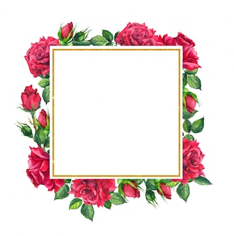 Red roses, square golden frame. watercolor card