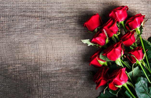 Red roses on a table