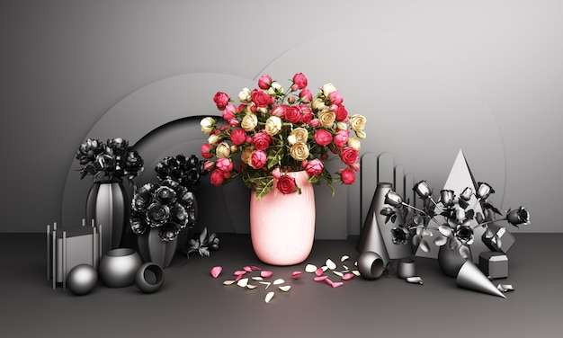 Red roses in a vase with a geometric background in pink and black tones 3d rendering