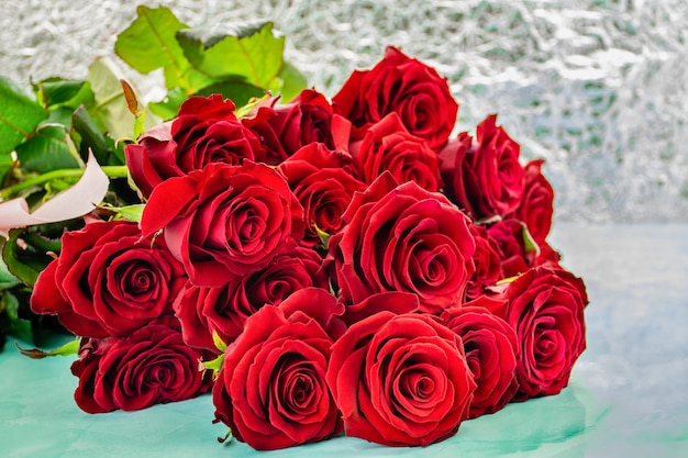 Red roses with boke background.