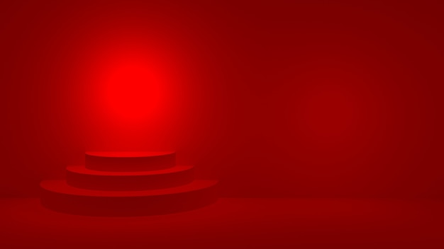 Red round podium on red stage display, 3d render.