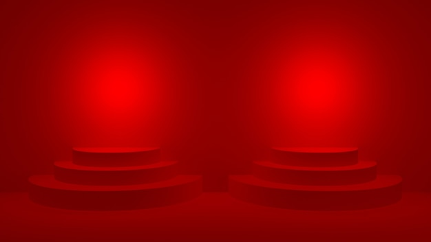 Red round podium on red stage display for award ceremony, 3d render.