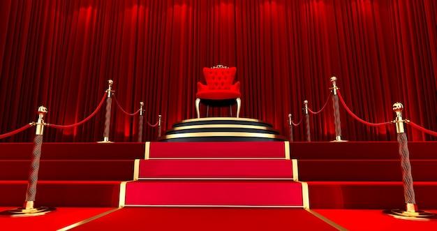 레드 로얄 의자. 호화로운 왕좌, 계단 및 골드 로프 장벽으로 이어지는 레드 카펫.