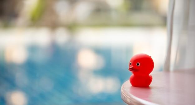 ぼやけたスイミングプールの背景に赤いゴム製のアヒル
