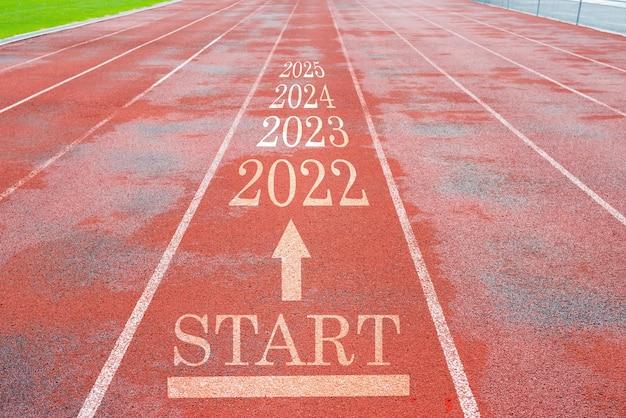Красная беговая дорожка с концепцией нового 2022 года
