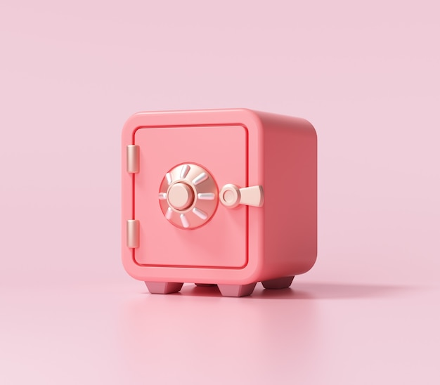 Red safe box font view on pink background. 3d render illustration