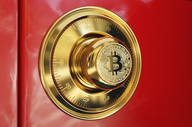 빨간색 안전 금고. 핸들에 황금 Bitcoin 기호로 개념적 이미지. 프리미엄 사진