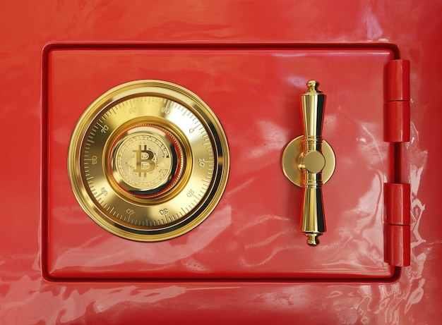 Red safe deposit box with golden bitcoin symbol
