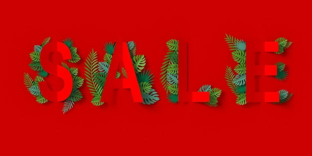 Red sale banner with paper cut and green leaves paper craft floral