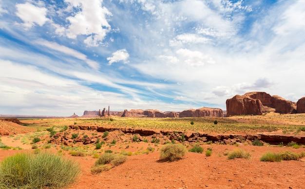 モニュメントバレーの赤い砂岩の風景