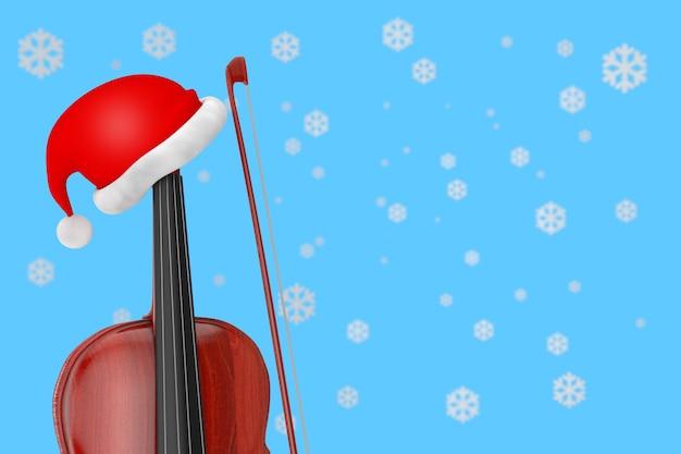 Красная шляпа санты над классической деревянной скрипкой с бантом на синем фоне с экстремальным крупным планом снежинок. 3d рендеринг