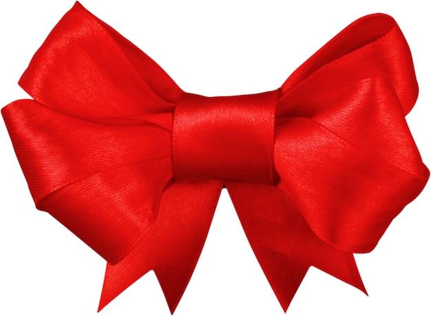 白い背景で隔離の赤いサテンのギフトの弓