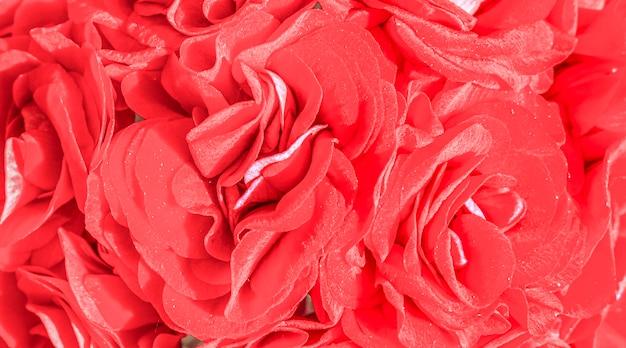 赤飽和花の背景水平写真はバナーとして使用できます