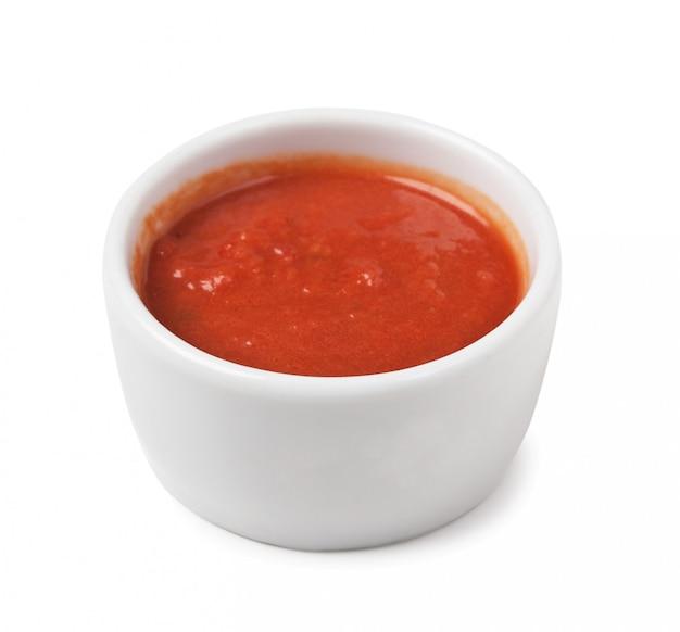 白い背景で隔離赤いソース