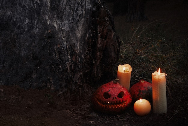 Red scary and angry pumpkins one with big eyes and tooth looking and smiling at camera