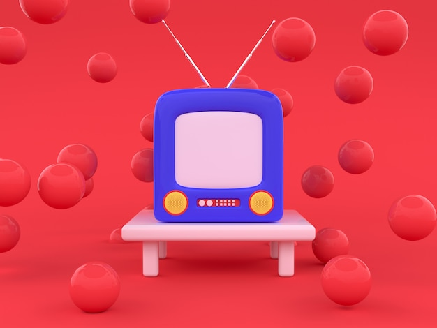 Red scene blue television cartoon style 3d render technology concept