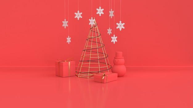 Red scene of christmas  new year holiday  metallic gold abstract christmas tree right gift box red ball wall floor 3d rendering