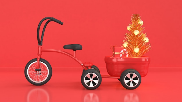 Red scene tricycle abstract christmas tree gift box 3d rendering