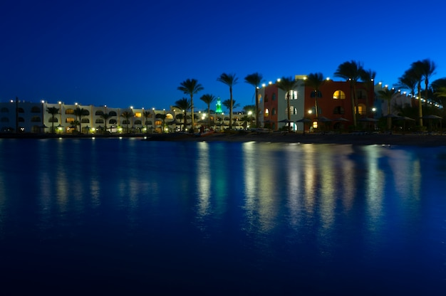 Red sea resort at night