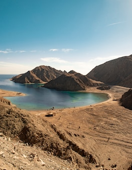 Red sea water and sinai mountains