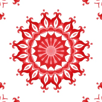 Red seamless ornamental watercolor arabesque paint tile pattern