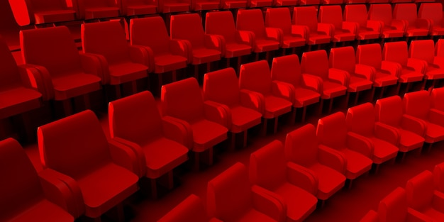 Red seats of a theater auditorium or cinema 3d illustration