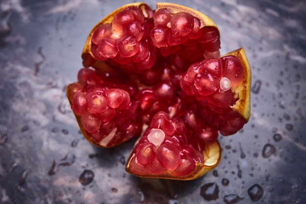 Red seeds of pomegranate