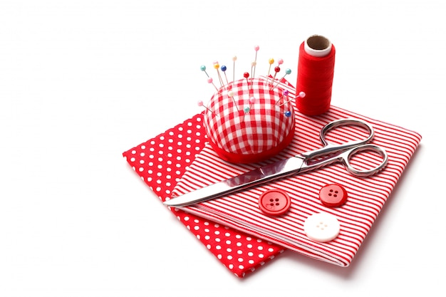 Red sewing items