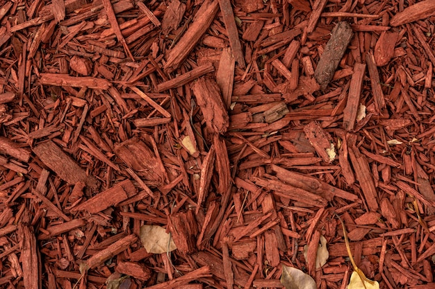 Red shavings from the bark of a tree on the ground background image