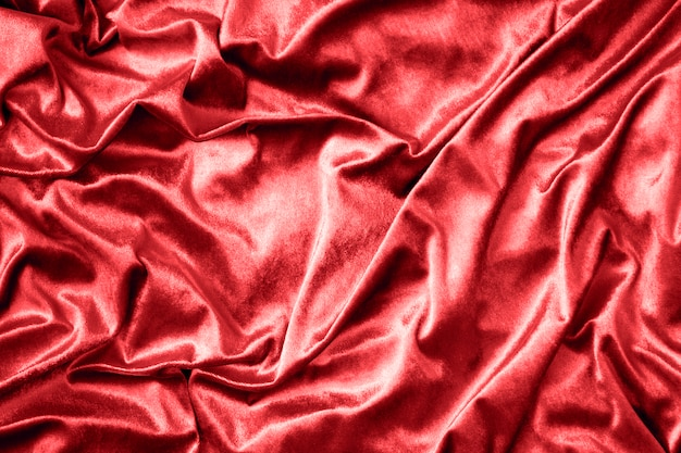 Red shiny silk fabric texture