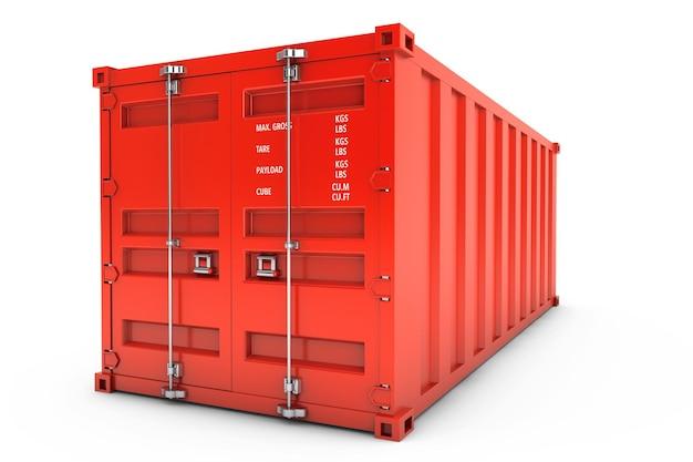 Красный транспортный контейнер на белом фоне. 3d рендеринг