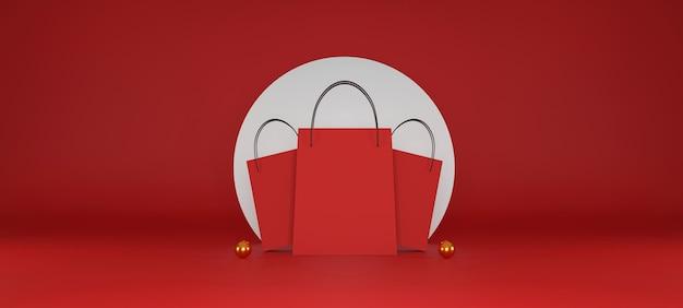 Красная хозяйственная сумка на красном фоне. продажа баннеров. 3d иллюстрация