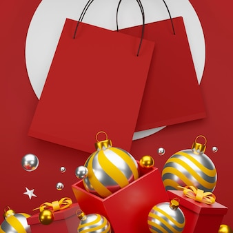 Красная сумка для покупок на красном фоне продажа баннеров дизайн 3d иллюстрации