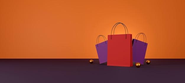 Red shopping bag on orange background sale banner design 3d illustration
