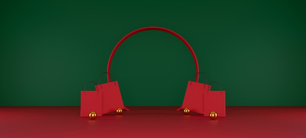 Red shopping bag on red and green background sale banner design 3d illustration